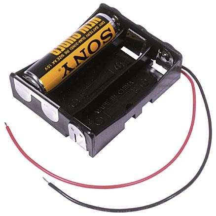 "BA3AAW - 3 Cell AA battery holder w/ 6"" wire leads. Spring-less contacts."