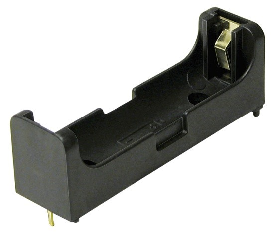 BHAA-POL-G - Single AA battery holder w/Gold flash PC pins and spring-less contacts. Reverse polarity protection.