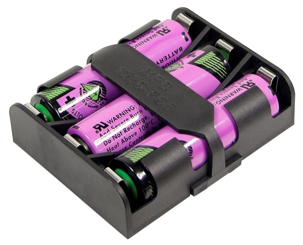 BK-1280-PC6 - 3 AA cell battery holder w retainer strap. Spring-less contact. Can be wired in parallel or series.