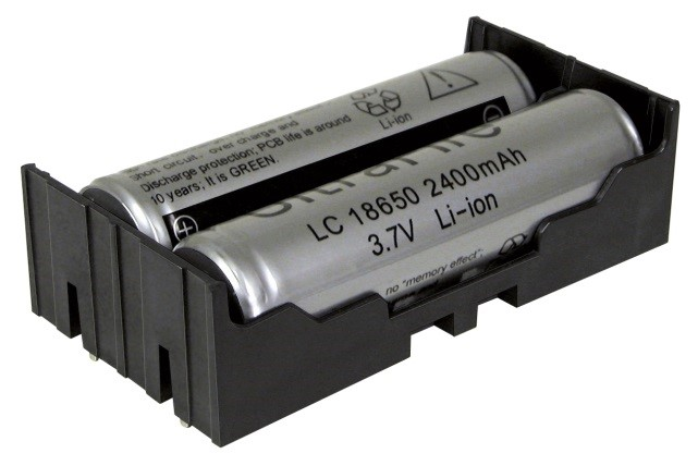 BK-18650-PC4 - Li-Ion battery holder w/ PC Pins for 2 batteries.