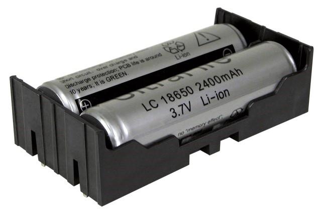 BK-18650-PC4 - Li-Ion battery holder w/ PC Pins for 2 batteries.