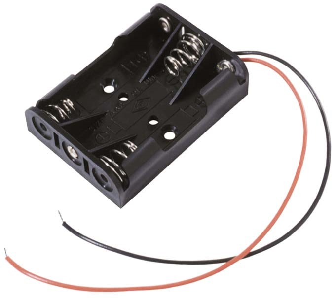 """BC3AAAW - 3 AAA battery cell holder w/ 6"""" wire leads."""